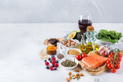 Assortment of healthy food low cholesterol Royalty Free Stock Image