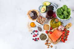Assortment of healthy food low cholesterol Stock Image