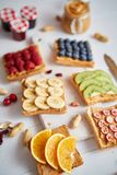 Assortment of healthy fresh breakfast toasts royalty free stock images