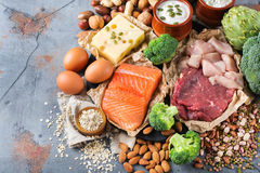 Assortment of healthy protein source and body building food. Meat beef salmon chicken breast eggs dairy products cheese yogurt beans artichokes broccoli nuts Royalty Free Stock Image