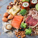 Assortment of healthy protein source and body building food. Meat beef salmon chicken breast eggs dairy products cheese yogurt beans artichokes broccoli nuts Stock Image