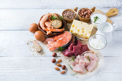 Assortment of healthy protein source and body building food. Meat beef salmon shrimp chicken eggs dairy products milk cheese yogurt beans quinoa nuts oat meal Stock Photos