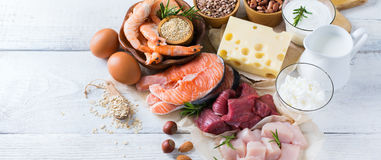 Assortment of healthy protein source and body building food. Meat beef salmon shrimp chicken eggs dairy products milk cheese yogurt beans quinoa nuts oat meal Royalty Free Stock Images