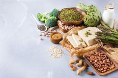 Assortment of healthy vegan protein source and body building food. Tofu soy milk beans asparagus broccoli artichokes almond peanut pumpkin chia flax seeds Stock Images