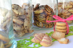 Assortment of homemade cookies. An assortment of homemade cookies in glasses Royalty Free Stock Photo