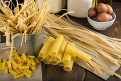 Assortment of homemade fresh egg pasta Royalty Free Stock Images