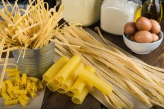 Assortment of homemade fresh egg pasta Royalty Free Stock Photography