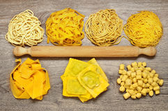 Assortment of homemade italian pasta Royalty Free Stock Images