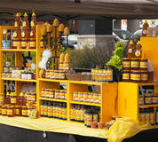 Assortment of honey and beeswax products. Farmers market. Royalty Free Stock Images
