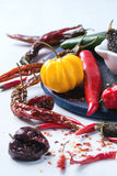 Assortment of hot chili peppers Stock Image