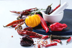 Assortment of hot chili peppers Royalty Free Stock Images