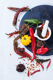 Assortment of hot chili peppers Royalty Free Stock Photos