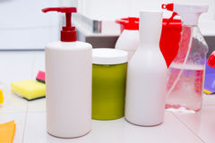 Assortment of household cleaning products Royalty Free Stock Image