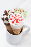 Assortment ice cream in a waffle cone, selective focus Royalty Free Stock Photo