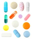 Assortment of isolated pills Royalty Free Stock Photography