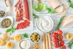 Assortment of Italian foods royalty free stock photography