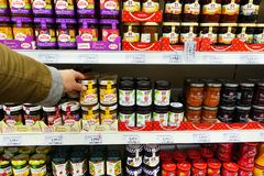 Assortment of jams in a store royalty free stock photography