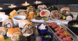 An assortment of Japanese food: sushi, nigiri, sashimi Stock Photos