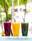 Assortment juices, smoothies, beverages, drinks variety Stock Images