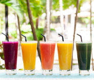 Assortment juices, smoothies, beverages, drinks variety Royalty Free Stock Photos