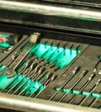 Assortment kit of metallic tools in car service Stock Photos