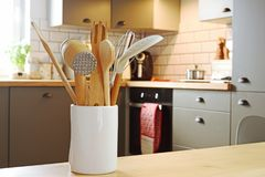 Assortment of kitchen utensils accessories and equipment Stock Image