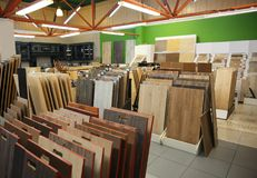Assortment of laminated flooring samples. In hardware store stock photography