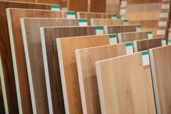 Assortment of laminated flooring samples. In hardware store royalty free stock photography