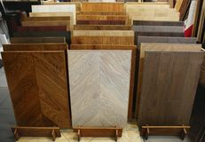 Assortment of laminated flooring samples. In hardware store royalty free stock photos