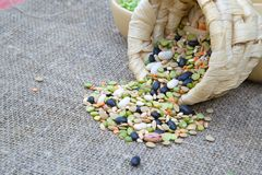 An assortment of legumes and cereals on a sackcloth Royalty Free Stock Photography