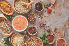 Assortment of legumes, grain and seeds Stock Images