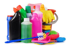 Assortment of means for cleaning Royalty Free Stock Photos