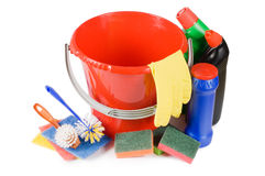 Assortment of means for cleaning isolated Stock Photos