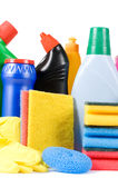 Assortment of means for cleaning isolated Stock Images