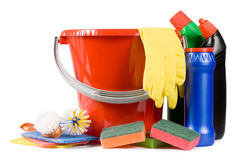 Assortment of means for cleaning isolated Royalty Free Stock Photography