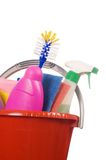 Assortment of means for cleaning isolated Royalty Free Stock Images