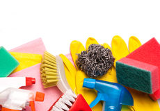 Assortment of means for cleaning and washing Royalty Free Stock Photography