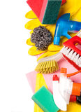 Assortment of means for cleaning and washing Royalty Free Stock Photo