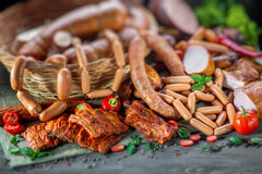Assortment of meat and sausages Stock Image