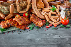Assortment of meat and sausages Stock Photography