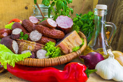 Assortment meats sausage bacon vegetables Stock Images