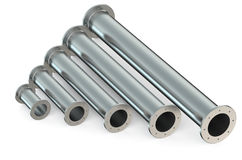 Assortment metallic pipes with different diameter Royalty Free Stock Image