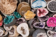 Assortment of mineral for sale Royalty Free Stock Images