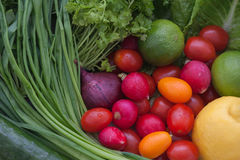 Fresh fruits and vegetables. Assortment of mixed fresh fruits and vegetables stock images