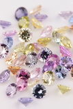 Assortment of multicolored Precious Stones. Stock Image