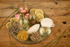 Assortment of natural cosmetics. On a rustic table Royalty Free Stock Photos