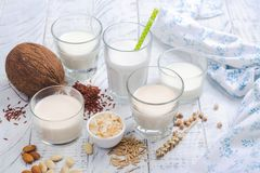 Assortment of non dairy vegan milk and ingredients. On white wooden background. Healthy drinks concept. Copy space Stock Photos
