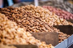 Assortment of nuts and almonds on market stand in Israel Royalty Free Stock Image