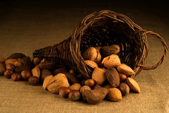 Assortment of nuts in basket on hesian background Stock Photos