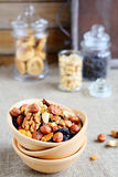 Assortment nuts in ceramic bowl Stock Photo